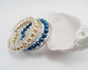 Tan and Blue Glass Pearl Memory Wire Bracelet