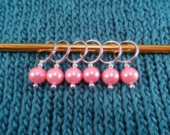 Pink Glass Pearl Stitch Markers set of 6