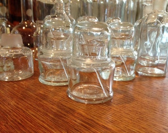 Vintage Glass Container with Glass Top and Slender Glass Rod