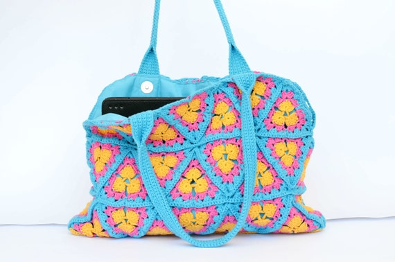 Summer handbag, yellow, blue, fuchsia pink, crochet bag, shoulder bag, beach tote bag, ipad tablet case