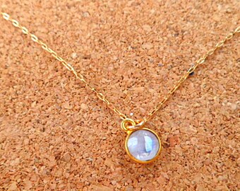 Rainbow moonstone 14k gold necklace