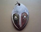 One of a kind Mask folk art ornament Ooak Ceramic Raku Face slate gray and copper.