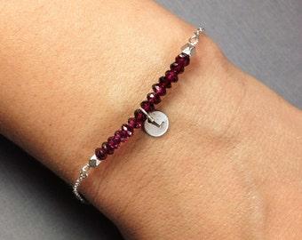 Initial Garnet and Silver Bracelet - Initial Birthstone Bracelet - Initial Bracelet - Initial Gemstone bracelet
