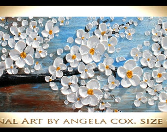 Original  Modern Contemporary White  Blossom Tree Thick Texture  Impasto Palette Knife Painting. 36 x 12 x 1,5..