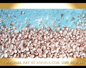 Original  Modern  Impasto  Cream White Flowers  Painting Contemporary Palette Knife Painting. size 48 x 24.