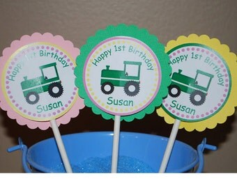Tractor Girl Pink Cupcake Toppers - Set of 12 Personalized Birthday Party Decorations