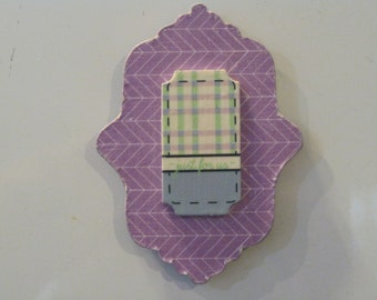 Lavender Chevron Print Decoupage Wooden Magnet with Wood Ticket Embellishment