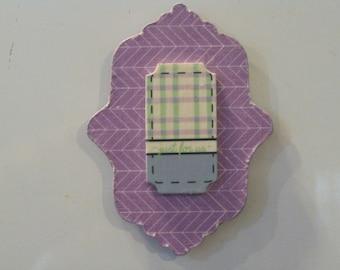 Lavender Chevron Print Decoupage Wooden Magnet