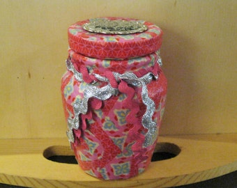 Pink and Blue Decoupage Glass Jar Washi Tape with Victorian Embellishment