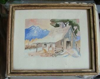 BARN Near The SIERRA NEVADAS Vintage Looking Watercolor Painting