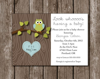 Owl Baby Shower Printable Invitation//Birthday//Digital File