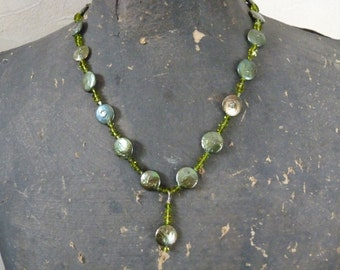 Green Coin Pearl and Swarovski Crystal Necklace