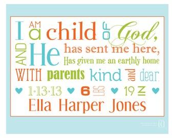 BIRTH ANNOUNCEMENT - I Am a Child of God - **8x10 digital file**