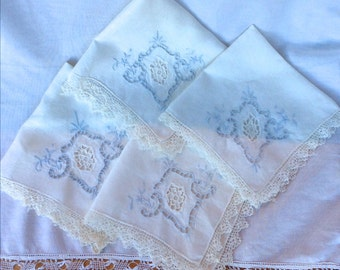 Beautiful Vintage Handmade Madeira Linen, Lace Edge Handkerchief or Napkins, White with Pale Blue Embroidery, Stunning