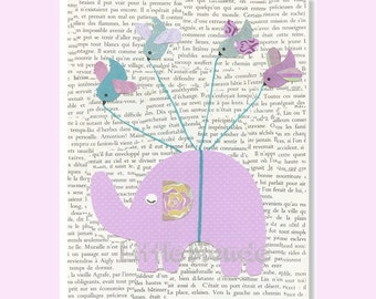 Baby Girl Nursery Prints, French Nursery, Elephant Nursery, Purple Nursery, Nursery Wall Decor, Vintage Nursery Decor, Purple Turquoise