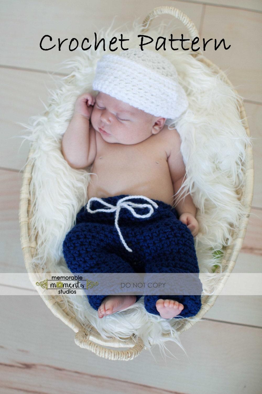 SALECrochet PATTERN 106 Newborn Sailor hat by MySweetPeaProps