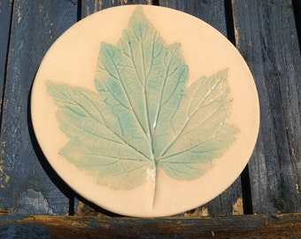 Ceramic Leaf Wall Art Vine Pottery Plaque Bathroom Decoration UK - ready to ship