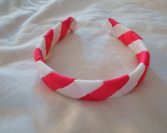 """pink and white woven headband for American Girl doll and other 18"""" dolls"""