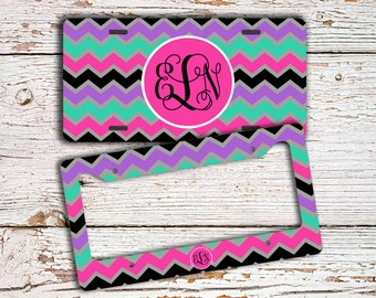 Monogram gift, Chevron license plate or cover, Personalized bicycle license plate, Girls car accessories Bike plate Purple aqua black (1069)