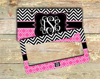 USA seller, Hot pink chevron license plate or frame personalized, Cute Pink quatrefoil, Monogram car tag, Chevron bike license plate  (1314)