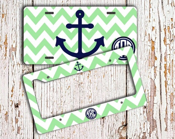anchor monogrammed license plate or frame mint green chevron nautical personalized car tag