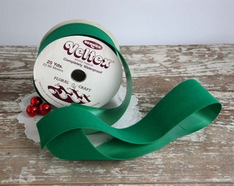 Vintage Green Velvet Ribbon flocked green satin back 25 yards Berwick Veltex Christmas holidays floral wreath wrapping waterproof craft