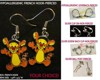 Tiger Tigger Earrings -CHOICE- Steel Hypoallergenic French Hook Leverback Post Pierced OR Clip On
