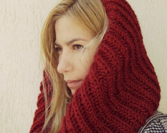 Chunky Snood English rib in red / Alpaca cowl/ Crochet neckwarmer / Tube Wrap under 50