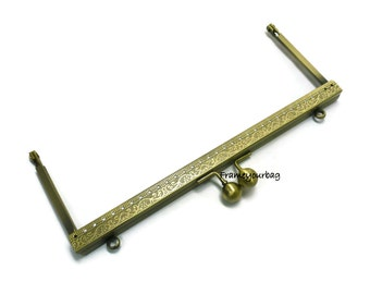 20cm=7,87 in- fancy antique brass colour purse frame sew on with loops F20/1095