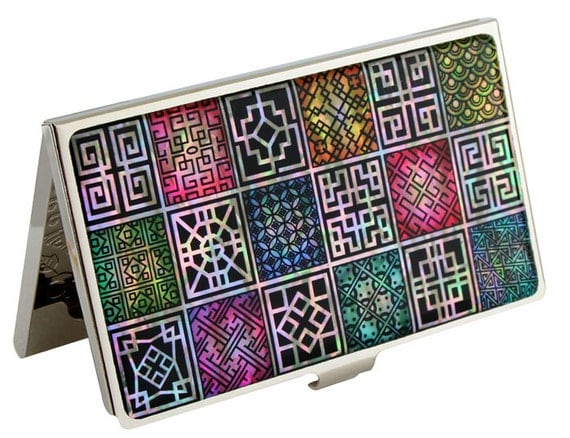 Nacre abalone shell Mother of pearl Business card holder