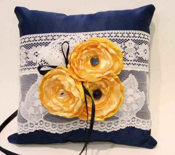 Navy Cobalt/ Midnight Blue and Yellow, White Lace Ring Bearer Pillow 1014