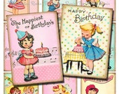 Retro Birthday Printables for Kids, INSTANT DOWNLOAD, Digital Collage Sheet, Vintage Images for cards, tags, labels, banners. aceo, atc