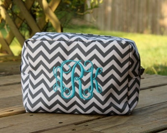 Monogrammed Chevron Cosmetic Bag - Personalized Embroidered Make Up Bag Bridesmaid Gift Wedding Gift