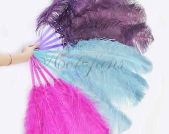 "Multi-Color single layer Ostrich Feather Fan Burlesque Dance 25""x45"""