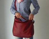 Red leather bag - Soft leather bag - Leather hobo bag  - MEDIUM HELEN