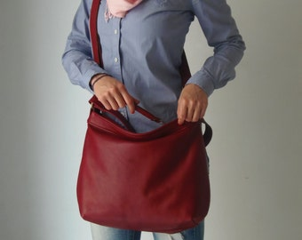 Red leather bag - Soft leather bag - Leather hobo bag  - MEDIUM HELEN
