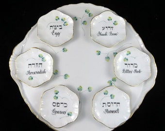 New Personalized Hand Painted Seder Plate with Individual  Bowls