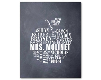 Customizable Teacher Appreciation Gift - Modern Wall Art - Apple Typography - personalize with children's and teacher's names - chalkboard