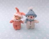 Little snow boy and bunny girl knitting pattern PDF