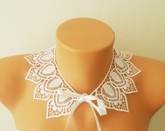 FREE SHIPPING LUX Lace Jewelry - Luxury Handmade Cotton Lace Applique Collar- White- Peter Pan collar- Woman- Woman Applique