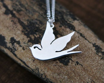 Sailor Jerry Swallow, Swallow Necklace, Swallow Tattoo, Silver Swallow