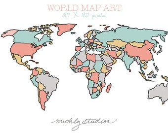 World map digital etsy vector and png world map watercolor outline digital clip art state country gumiabroncs Choice Image