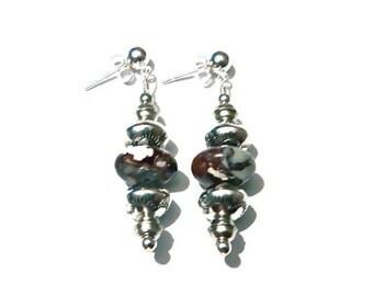 Sterling Silver & Arizona Wild Horse Jasper Navajo Bench Bead Earrings