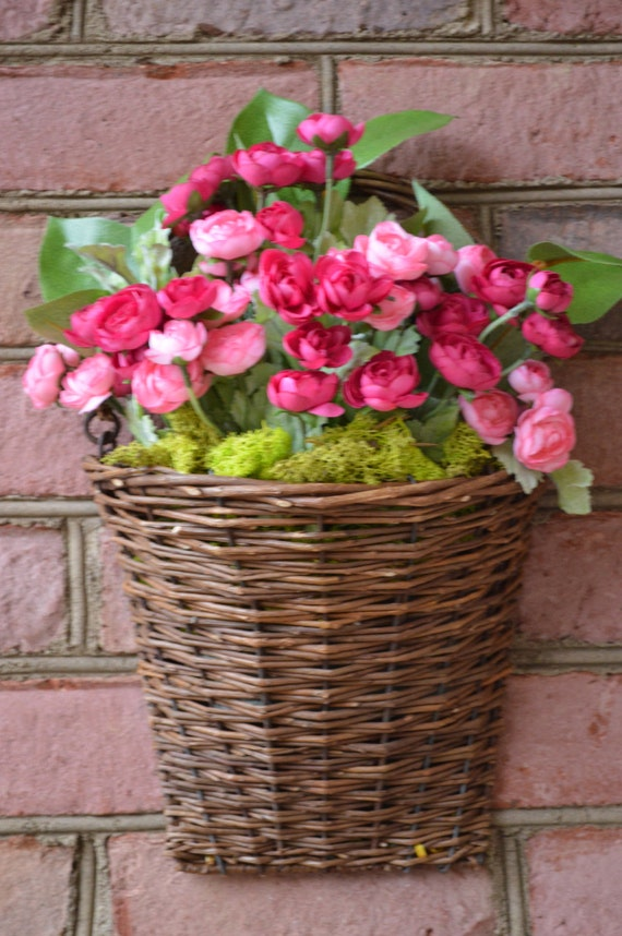 Spring flowers spring floral arrangement grapevine basket Spring flower arrangements for front door