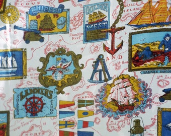 Vintage, Nautical, 1960's, Fabric, New Old Stock, Sailing, Sailors, Ocean, Boats, Blue, Red, Olive Green, Yellow, White, Curtains