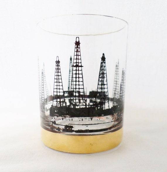 1960's Vintage Set of 4 Oil Derrick Rocks Glass