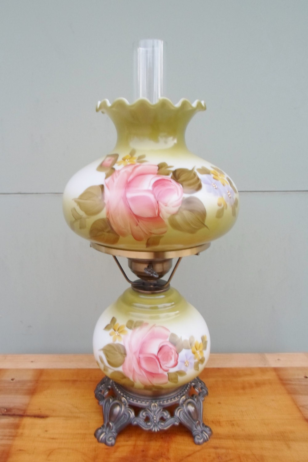 Vintage Gone With The Wind Lamp Hurricane Lamp Hand Painted