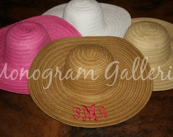 SALE!!! PINK Monogrammed Women's Wide Brim Straw Hat   Font 2  SALE!!!