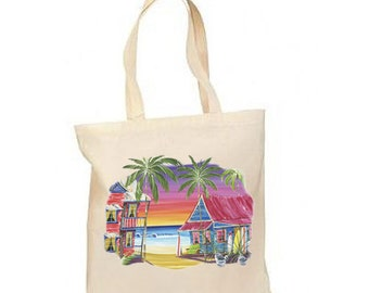 The Island Getaway New Lightweight Cotton Tote Book Bag, Travel