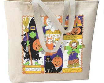 Happy Halloween Collage New Large Tote Bag Shop Trick or Treat Gifts